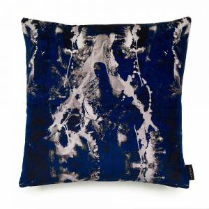Blotto Navy Cotton Velvet Cushion - Square