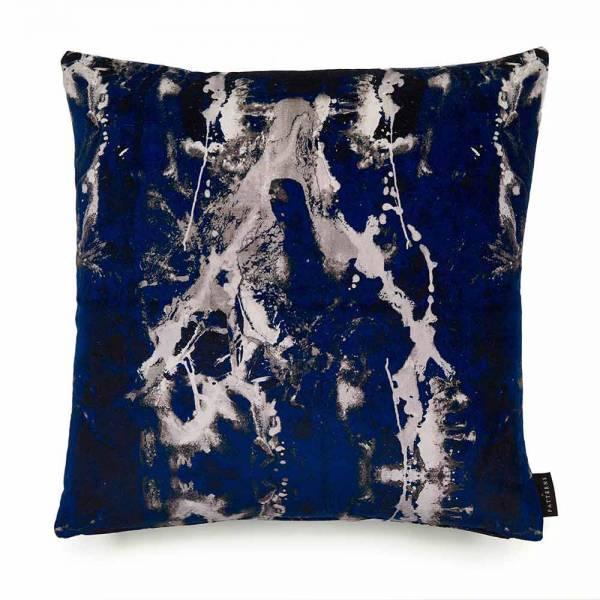 Blotto Navy Cotton Velvet Cushion - Square