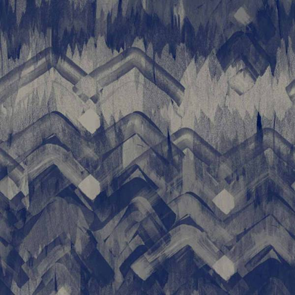 Brushed Herringbone Wallpaper - Blue