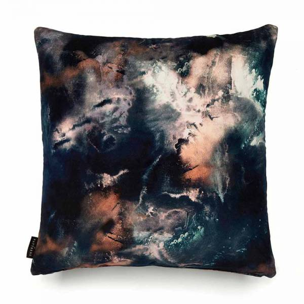 Cloudbusting Earth Blue Cotton Velvet Cushion - Square