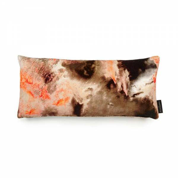 Cloudbusting Peach Cotton Velvet Cushion - Lumbar