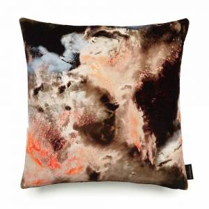 Cloudbusting Peach Cotton Velvet Cushion - Square
