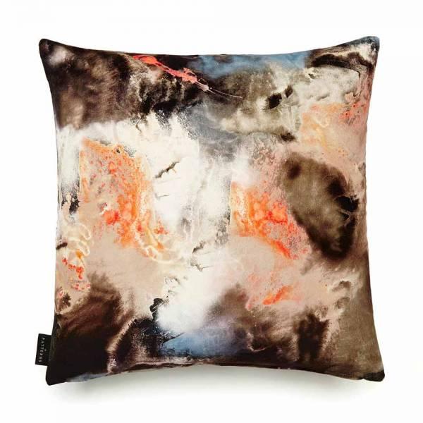 Cloudbusting Peach Cotton Velvet Cushion - Square