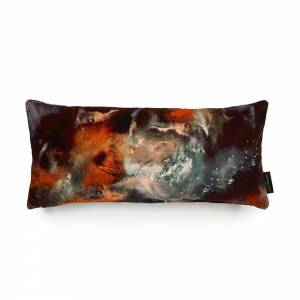 Cloudbusting Rust Cotton Velvet Cushion - Lumbar