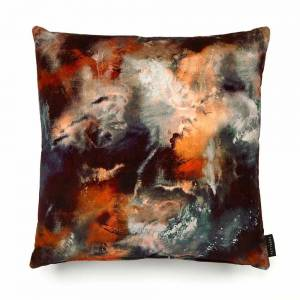 Cloudbusting Rust Cotton Velvet Cushion - Square