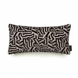 Dazzle Black Cotton Velvet Cushion - Lumbar