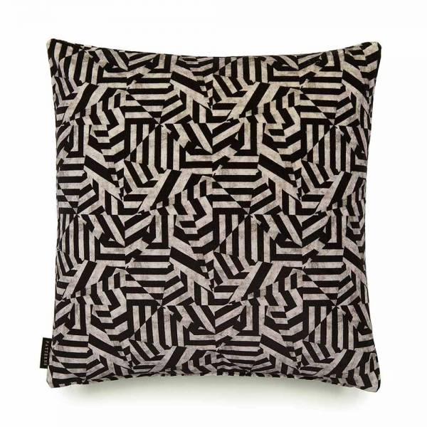 Dazzle Black Cotton Velvet Cushion - Square