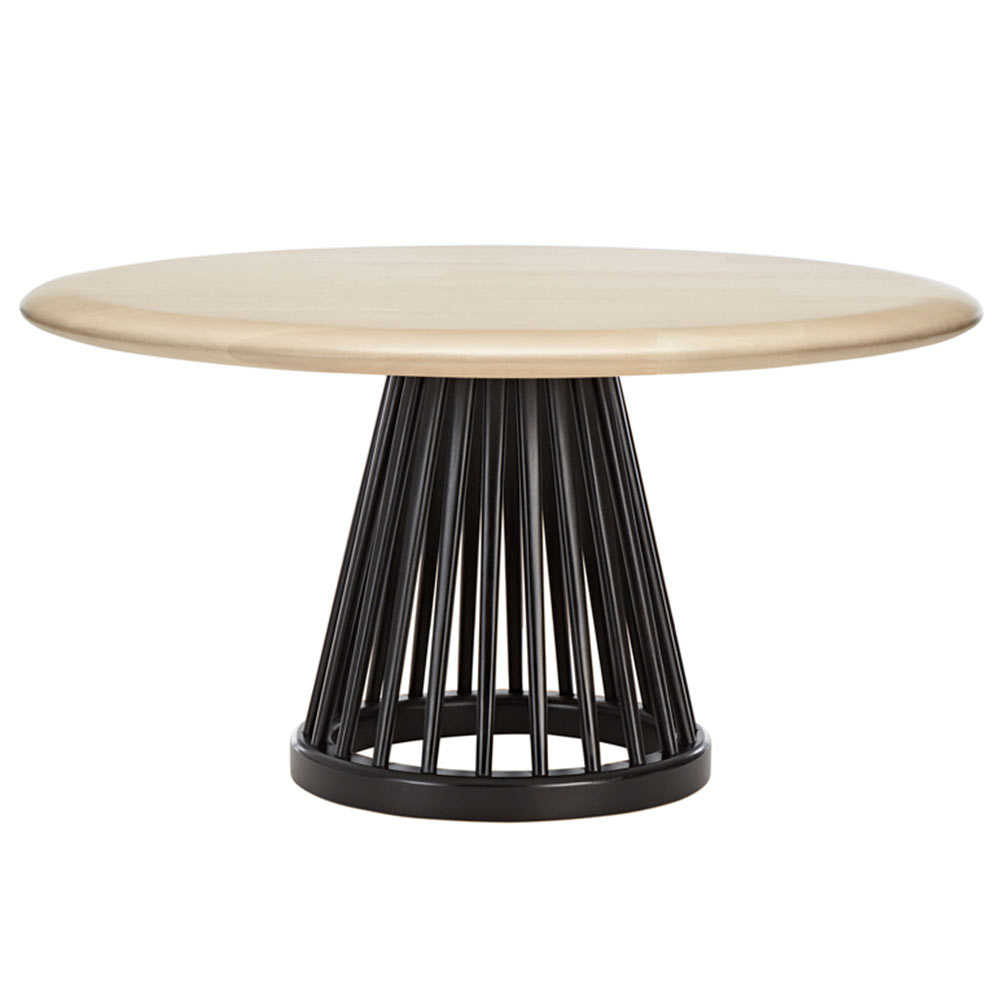 Fan Large Coffee Table   Natural Birch Top, Black Base
