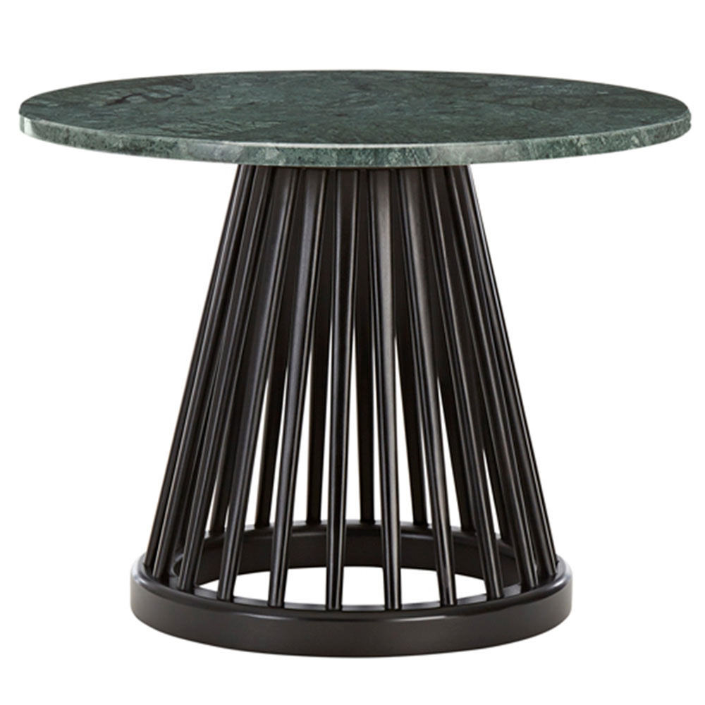 fan small coffee table green marble top black base rouse home. Black Bedroom Furniture Sets. Home Design Ideas