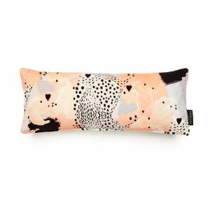 Leopard Love Peach Cotton Velvet Cushion - Lumbar