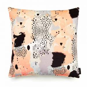 Leopard Love Peach Cotton Velvet Cushion - Square