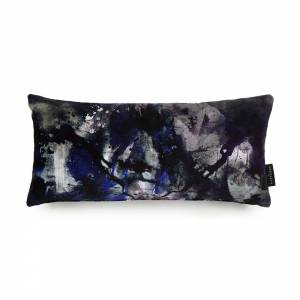 Nebulous Infinity Black & Blue Cotton Velvet Cushion - Lumbar