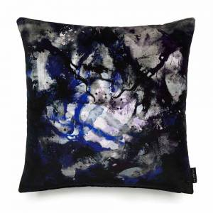 Nebulous Infinity Black & Blue Cotton Velvet Cushion - Square