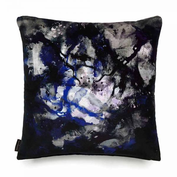 Nebulous Infinity Black & Blue Cotton Velvet Cushion - Square