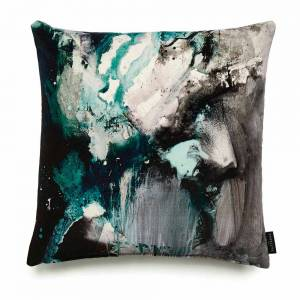 Nebulous Jade Cotton Velvet Cushion - Square