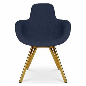 Scoop Dining Chair High Back - Blue Hot 0792, Brass Legs