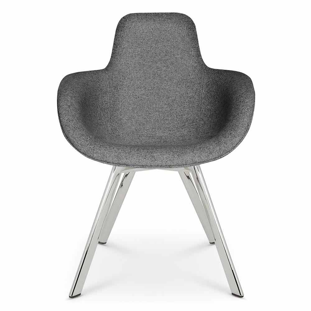 Scoop Dining Chair High Back Gray Divina 0170 Chrome Legs Rouse