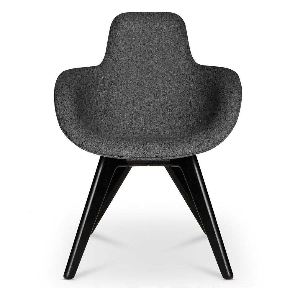 Scoop Dining Chair High Back Gray Divina 0180 Black Oak Legs