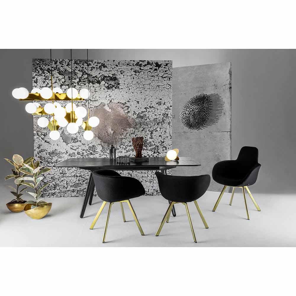 Scoop Dining Chair High Back - Black Hallingdal 0190, Copper Legs