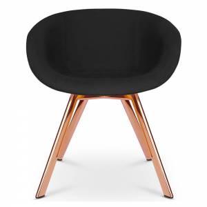 Scoop Dining Chair Low Back - Black Hallingdal 0190, Copper Legs