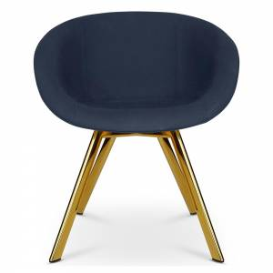Scoop Dining Chair Low Back - Blue Hot 0792, Brass Legs
