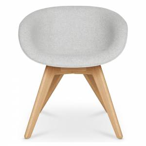 Scoop Dining Chair Low Back - Gray Divina 0120, Natural Legs