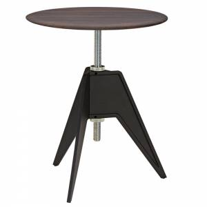 Screw Small Round Cafe Table - Fumed Oak