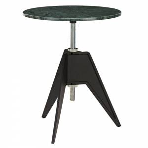 Screw Small Round Cafe Table - Green Marble
