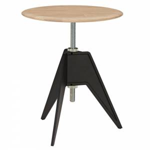 Screw Small Round Cafe Table - Natural Oak