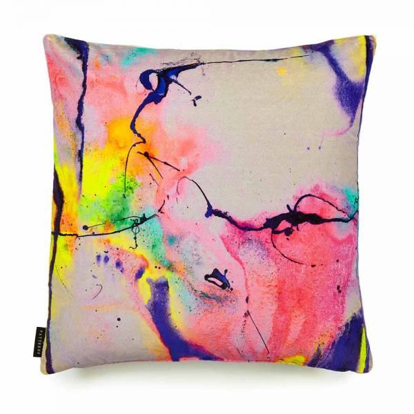 Whirling Dervish Gray Cotton Velvet Cushion - Square