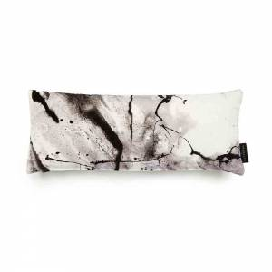 Whirling Dervish White Cotton Velvet Cushion - Lumbar