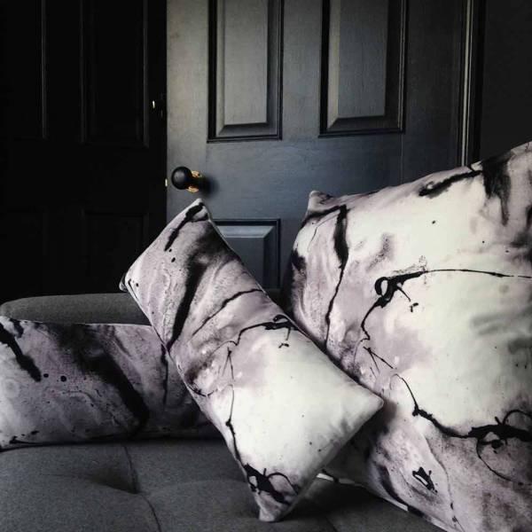 Whirling Dervish White Cotton Velvet Cushion - Lumbar