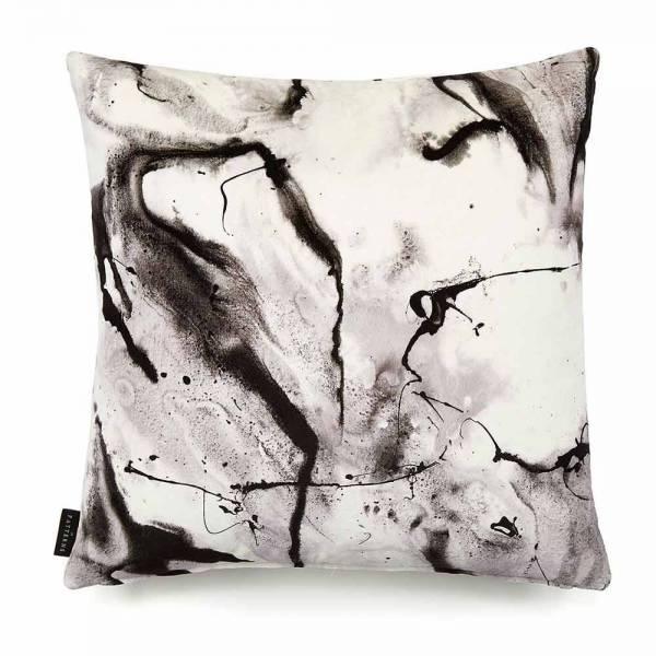 Whirling Dervish White Cotton Velvet Cushion - Square