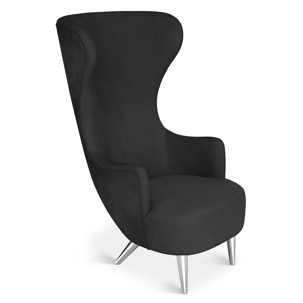 Wingback Chair - Black Leather Elmo Nubuck, Chrome Legs