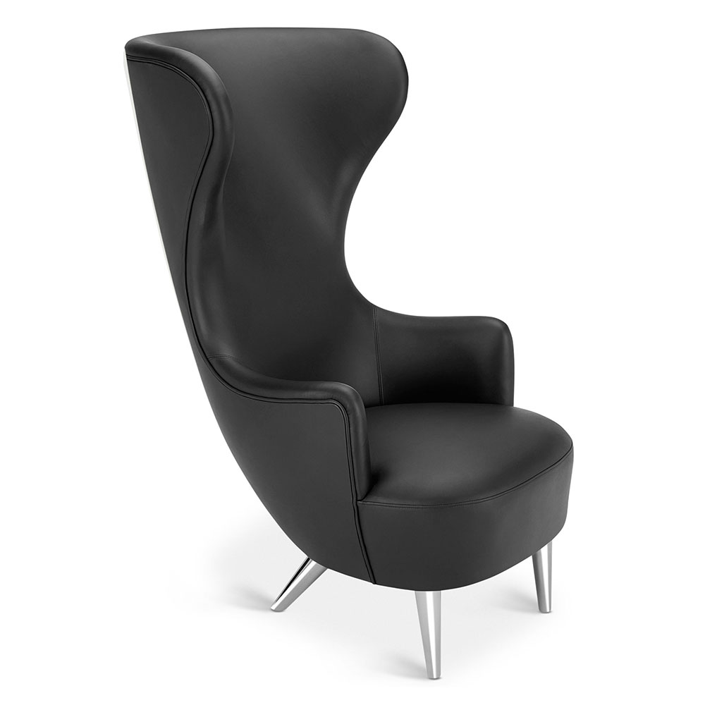 Wingback Chair - Black Leather Elmosoft, Chrome Legs