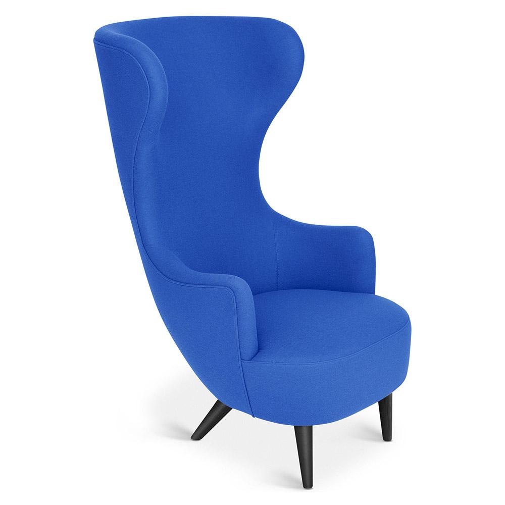 Wingback Chair Blue Divina 3 0756 Black Oak Legs Rouse Home