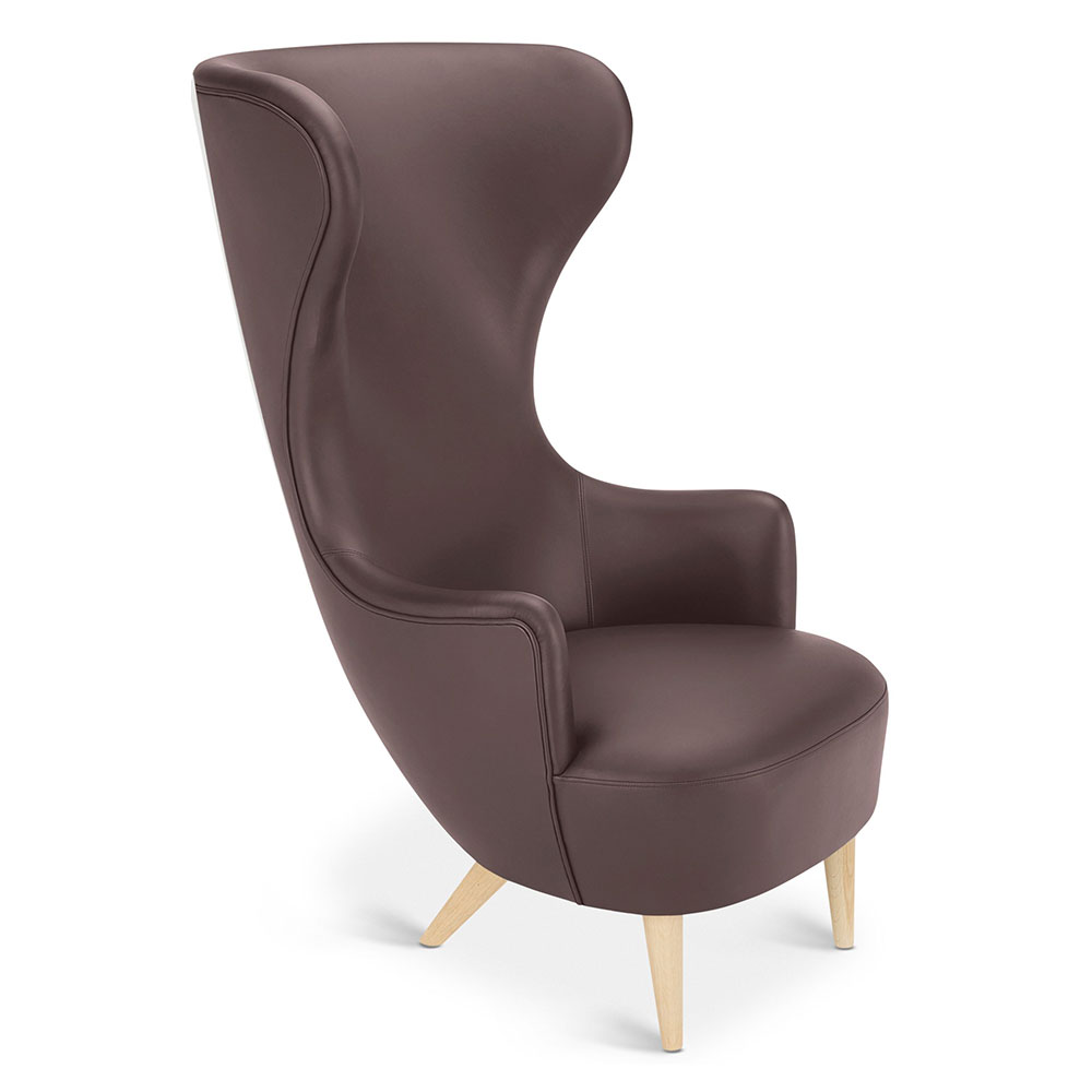 Merveilleux Wingback Chair   Brown Leather Elmosoft, Natural Oak Legs