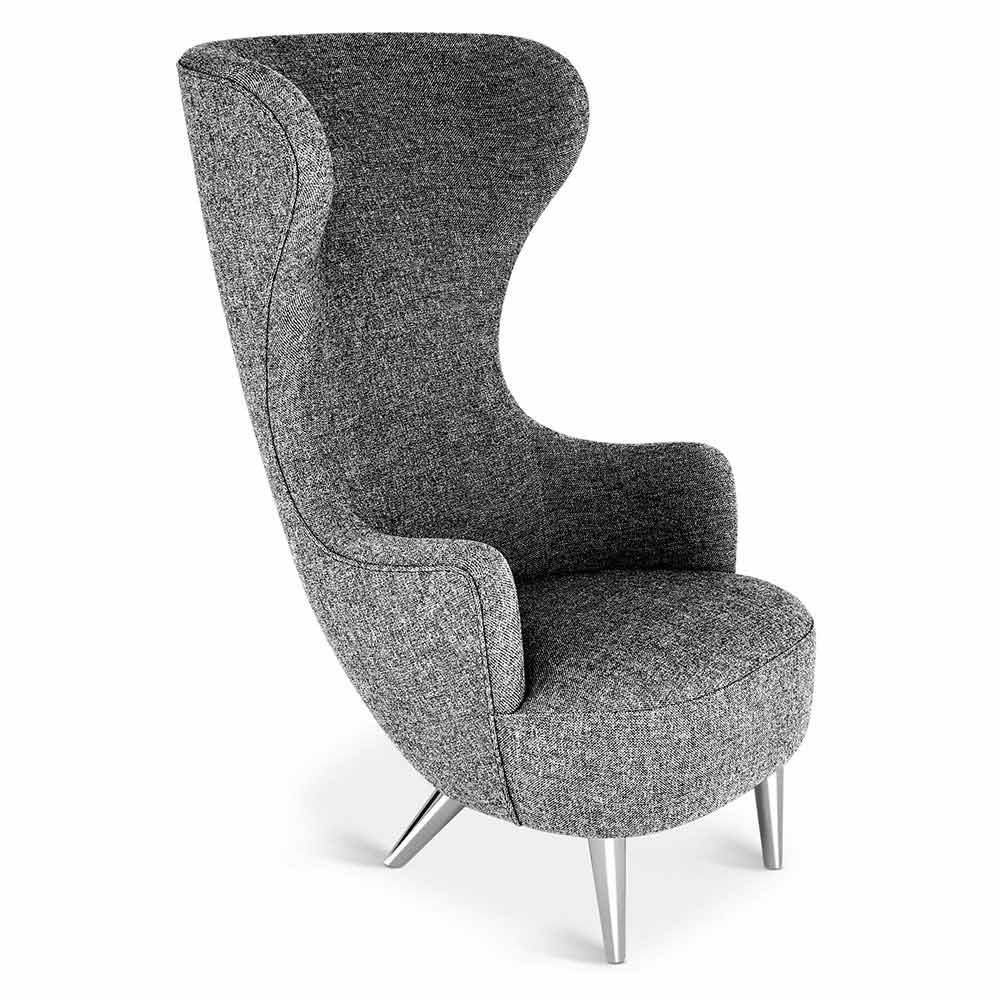 Wingback chair gray hallingdal 0166 chrome legs