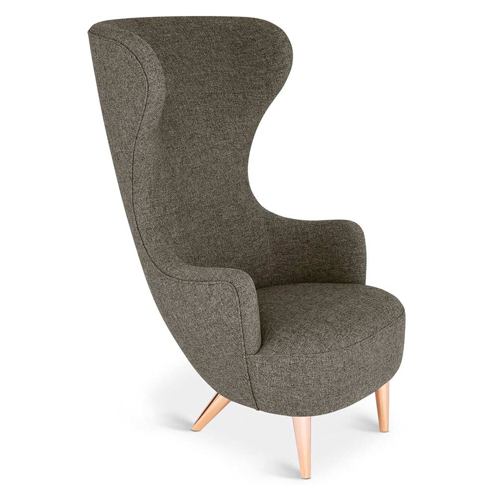 Wingback Chair   Gray Hallingdal 0368, Copper Legs