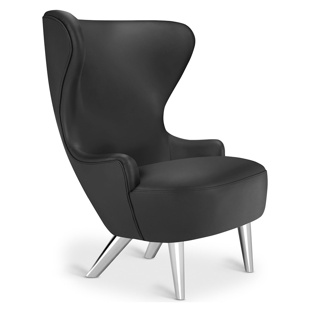 Wingback Micro Chair - Black Leather Elmosoft, Chrome Legs