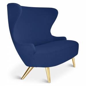 Wingback Micro Sofa - Blue Tonus 4 0210, Brass Legs
