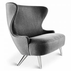 Wingback Micro Sofa - Gray Hallingdal 0166, Chrome Legs