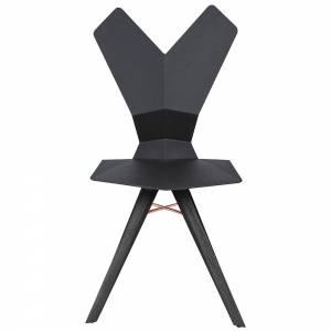 Y Dining Chair - Black Shell, Black Oak Base