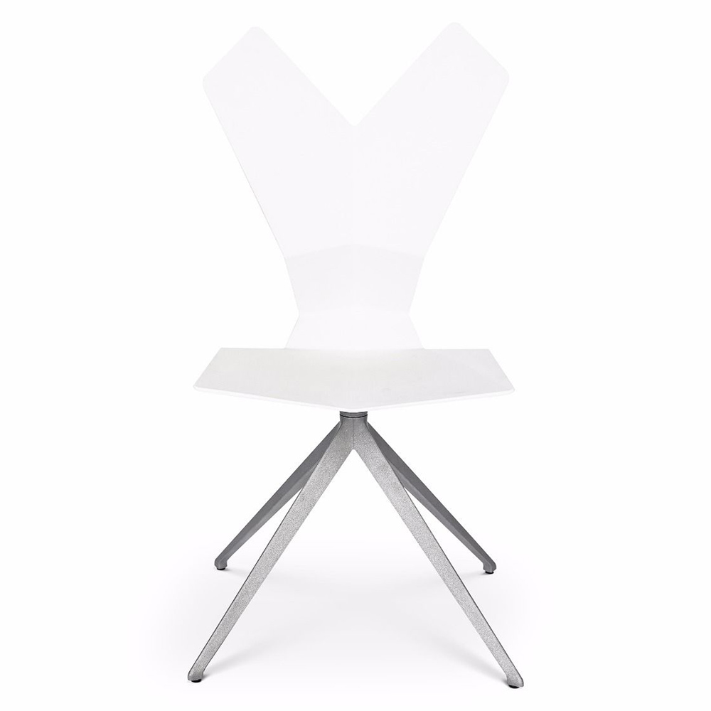 Y Dining Chair   White Shell, Aluminum Swivel Base