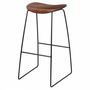 2D Bar Stool   American Walnut, Black Sledge Base