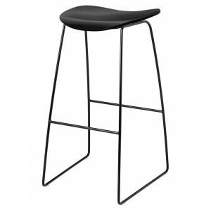 2D Bar Stool - Black Stained Birch, Black Sledge Base