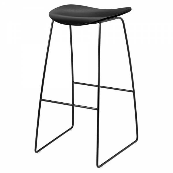2D Bar Stool - Black Stained Birch, Black Sledge Base