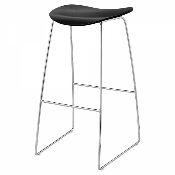 2D Bar Stool - Black Stained Birch, Chrome Sledge Base