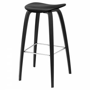 2D Bar Stool - Black Stained Birch, Wood Base