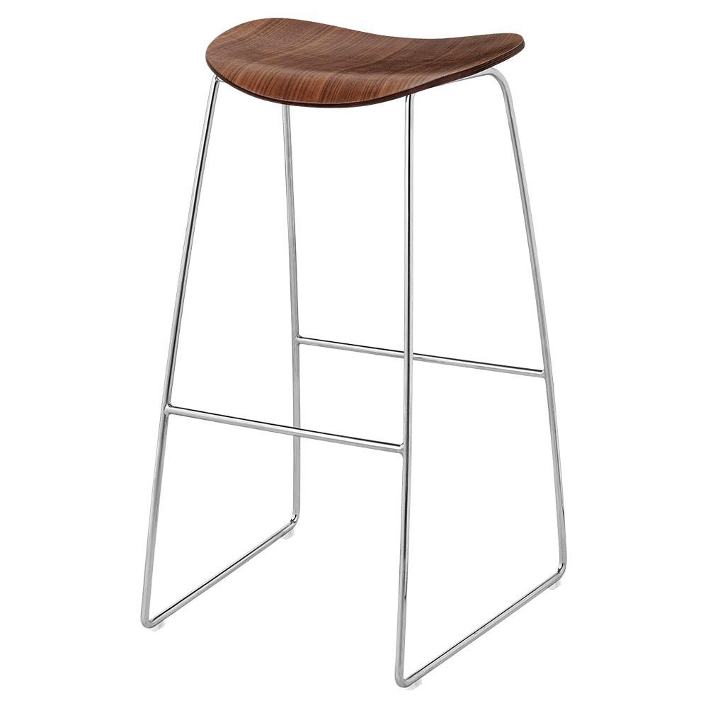 Wondrous 2D Counter Stool American Walnut Chrome Sledge Base Inzonedesignstudio Interior Chair Design Inzonedesignstudiocom